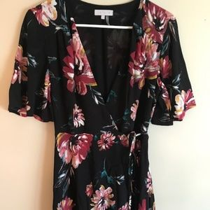 1. State Dresses - NWOT 1.STATE Floral Black Wrap Dress--Small
